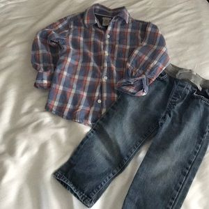 Boys 3T Carters Button Down & CP Jeans Outfit